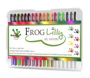 FrogLilly Professional Artist Gel Ink Pens Set w/ 4 Adult Coloring Book Pages in Sturdy Plastic Case - 36 Vibrant Neon, Glitter and Milky Pastel Colors